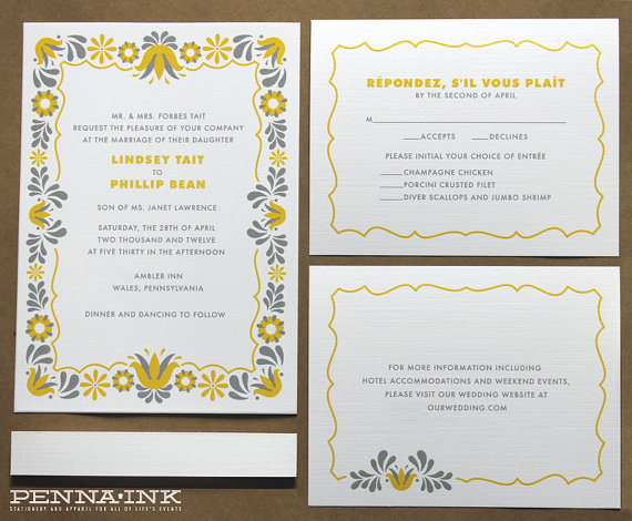 pa dutch folk wedding invitations