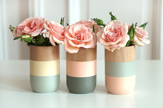 Painted Wooden Vases