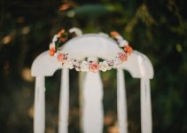 peach and tangerine floral crown wedding accessory