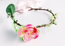 peach flower girl hair crown