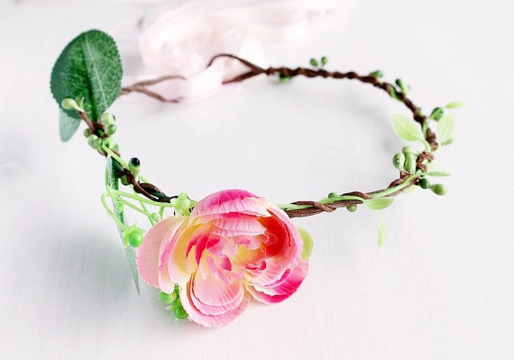 peach flower girl hair crown