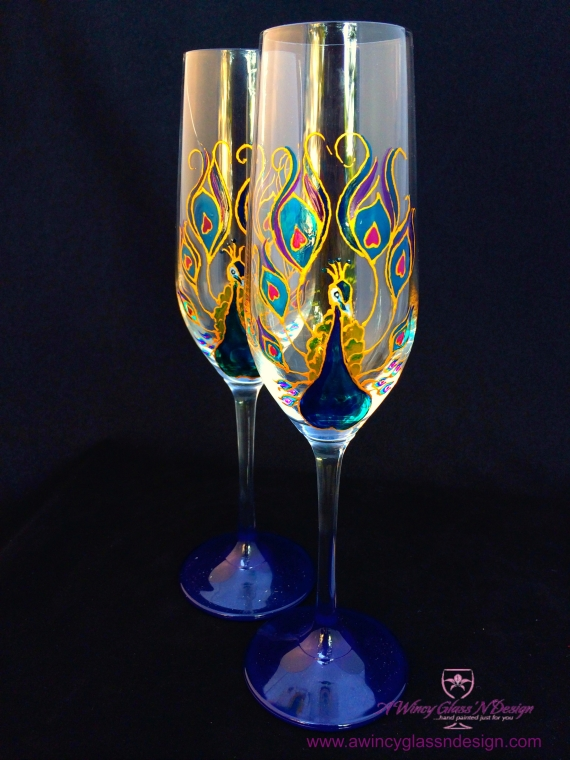 peacock champagne glasses