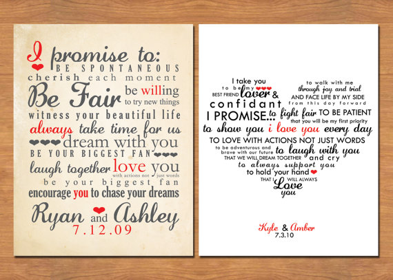 Wedding Vow Keepsake What Would Yours Say