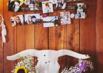 photo wall for boho bridal shower