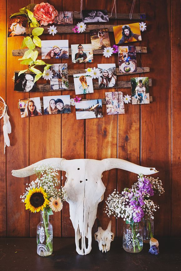 photo wall for boho bridal shower