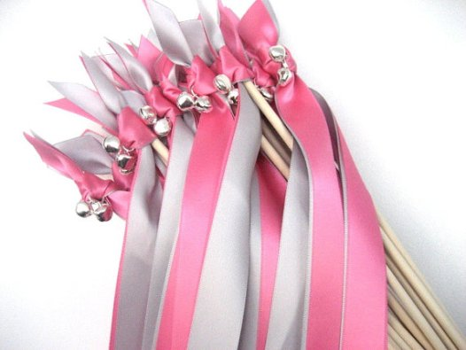 pink and silver ribbon wands with bells