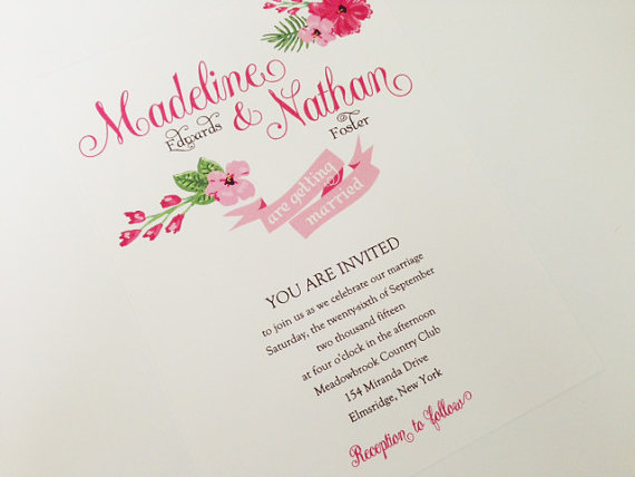 pink via 6 Colorful Wedding Invitations with Florals