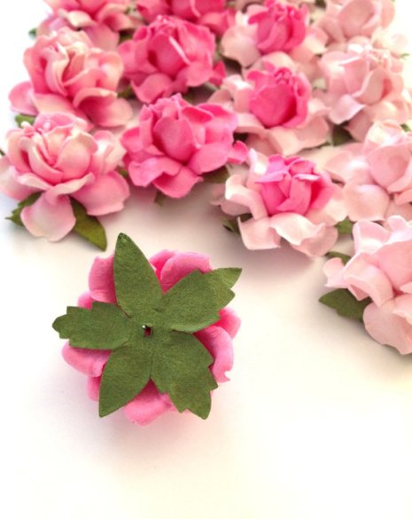 pink paper flowers -