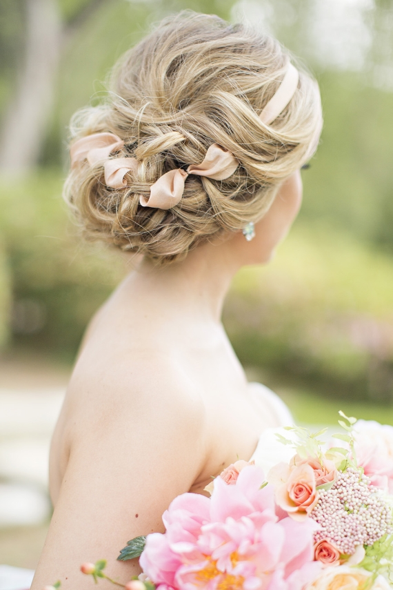 pink ribbon updo