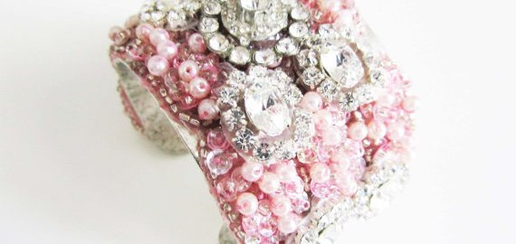 pink cuff bracelet rhinestones