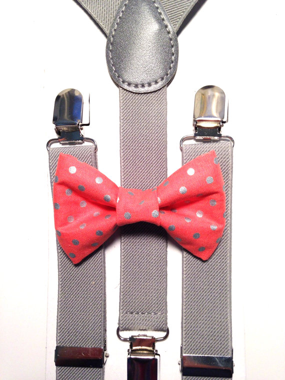 polka dot coral bow tie and gray suspenders