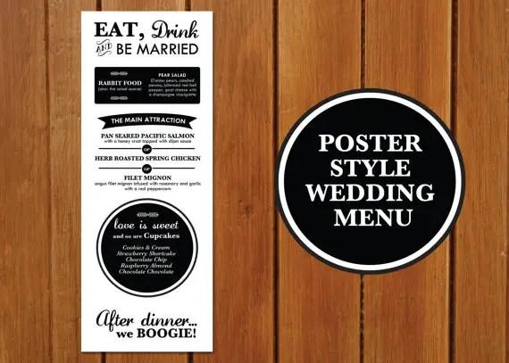 Poster Style Wedding Menu + Program