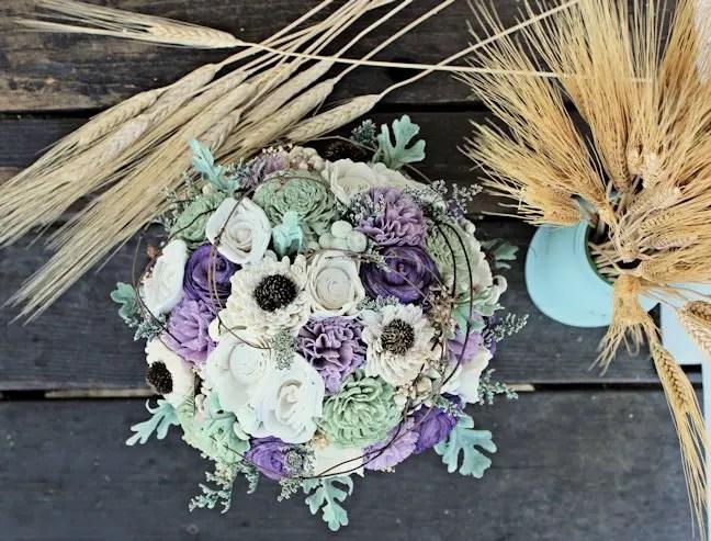 purple sola flower bouquet