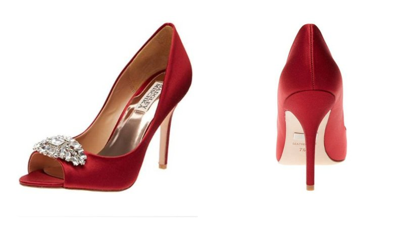 red badgley mischka heels via 18 red rose wedding ideas
