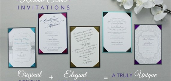 ribbon corner wedding invitation styles