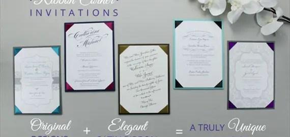 ribbon corner wedding invitation styles