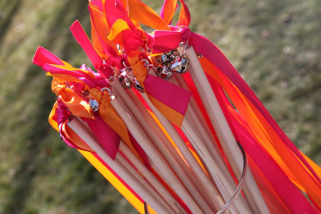 ribbon wands instead of rice by decadent designs | via 7 Wedding Ceremony Toss Mistakes to Avoid via emmalinebride.com