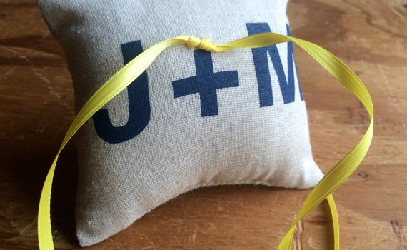 ring bearer pillow with initials