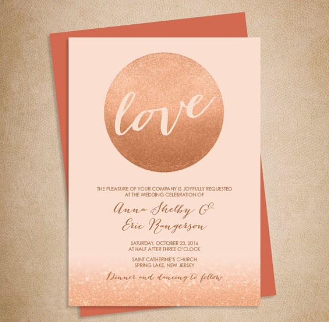 rose gold wedding invitation by jade forest design