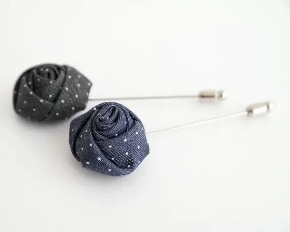 rose polka dot lapel pin flower   via polka dot wedding ideas http://emmalinebride.com/themes/polka-dot-wedding-ideas-handmade/