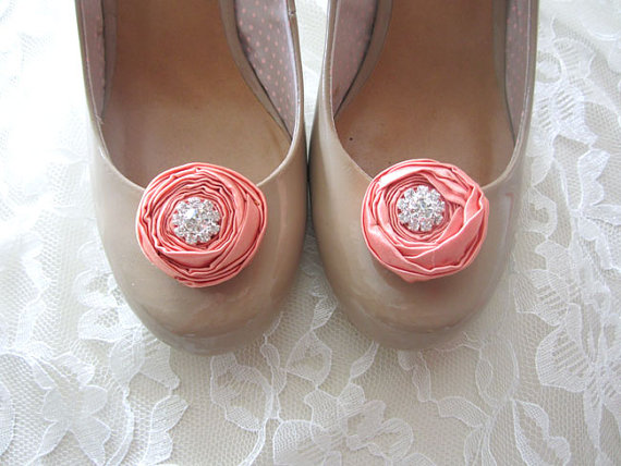 rosette wedding shoe clips