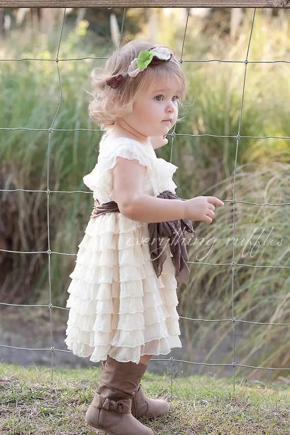 ruffly flower girl dresses boots