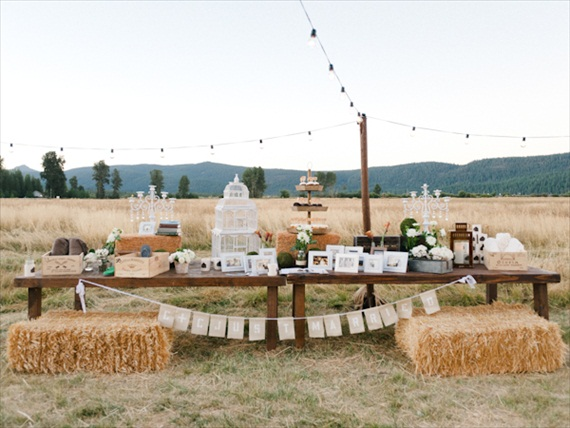 rustic barn wedding dessert display