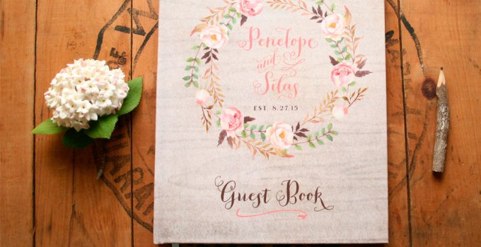 rustic guest book with floral design