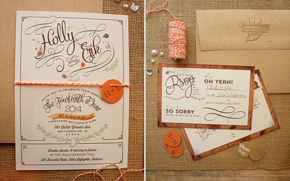 Rustic handmade wedding invitation suite by Paper Street Press