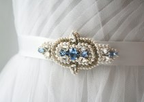 sapphire beaded wedding dress sash