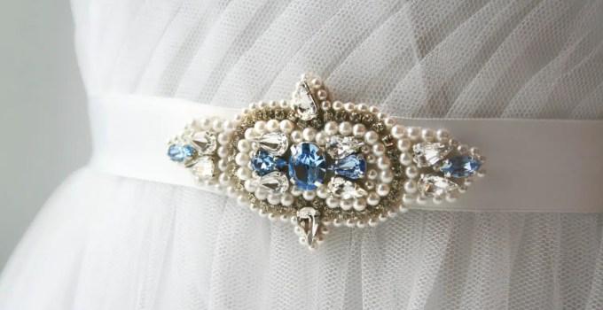 sapphire beaded wedding dress sash