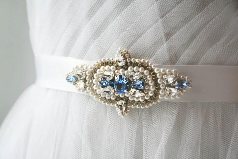 sapphire beaded wedding dress sash | NEW Wedding Dress Sash Ideas via http://emmalinebride.com/bride/wedding-dress-sash-ideas/