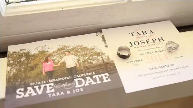 save the date wedding card in their Sova Gardens wedding film