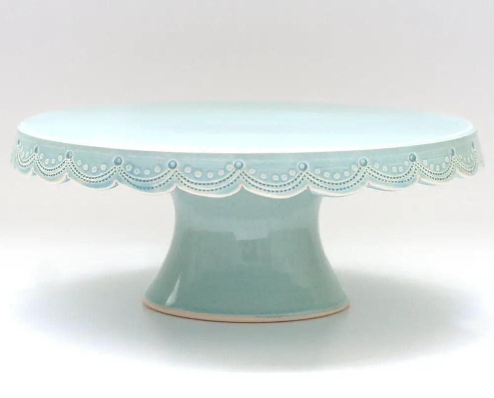 scalloped blue custom wedding cake stand
