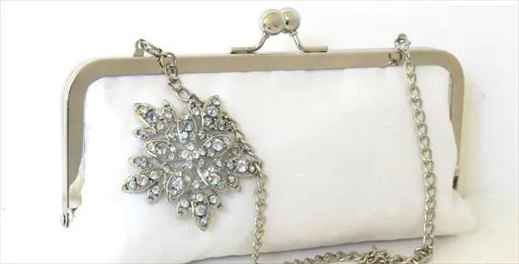 silk bridal clutch with brooch