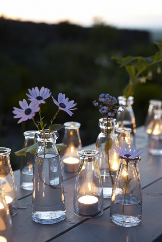 Milk bottle wedding decor mason jar alternative