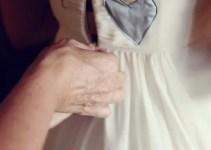something blue heart on back of dress