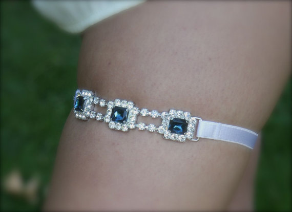 something blue rhinestones garter