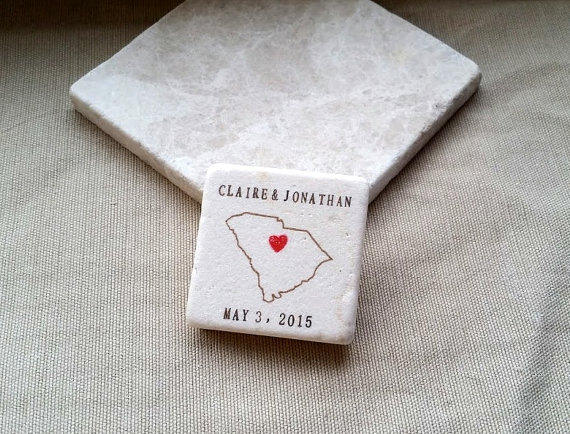 south carolina outline state wedding favor magnets via 25 State Ideas That Will Make Your Big Day More Awesome