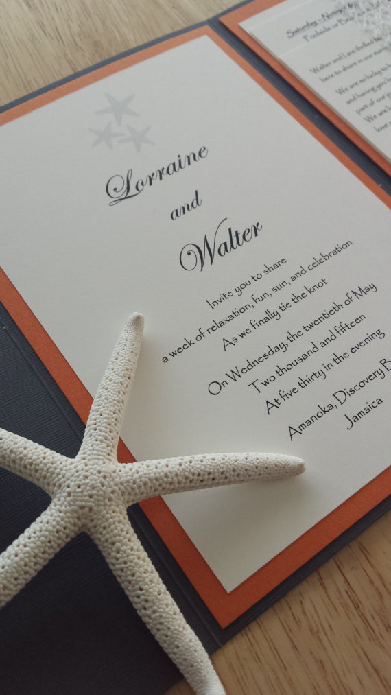 starfish wedding invitation | via starfish wedding ideas: http://emmalinebride.com/beach/starfish-wedding-ideas/
