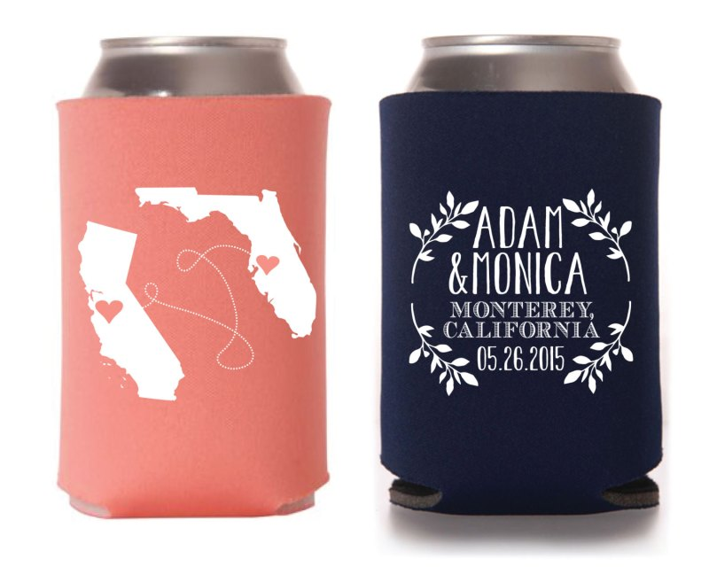 state themed drink koozies via 25 State Ideas That Will Make Your Big Day More Awesome