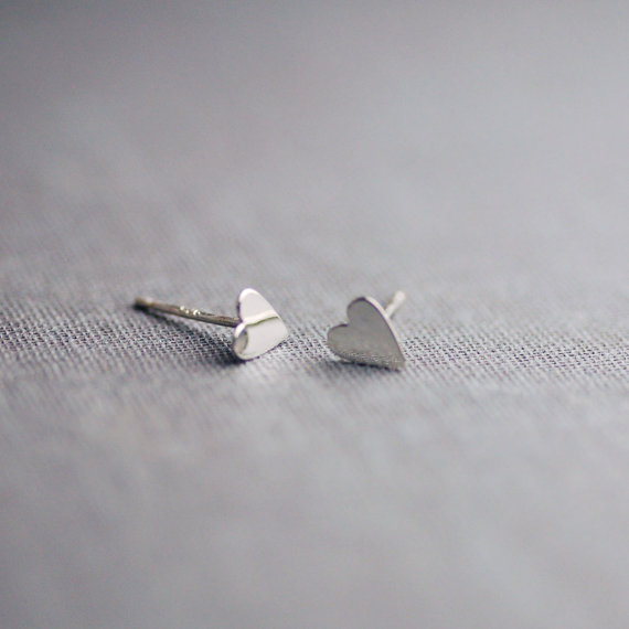 sterling silver heart stud earrings by lilyemme jewelry via emmalinebride.com