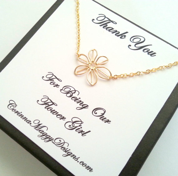 thank you for being our flower girl necklace | Handmade Flower Girl Gifts http://emmalinebride.com/2015-giveaway/handmade-flower-girl-gifts/