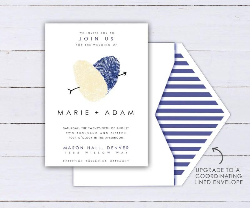 thumbprint wedding invitation