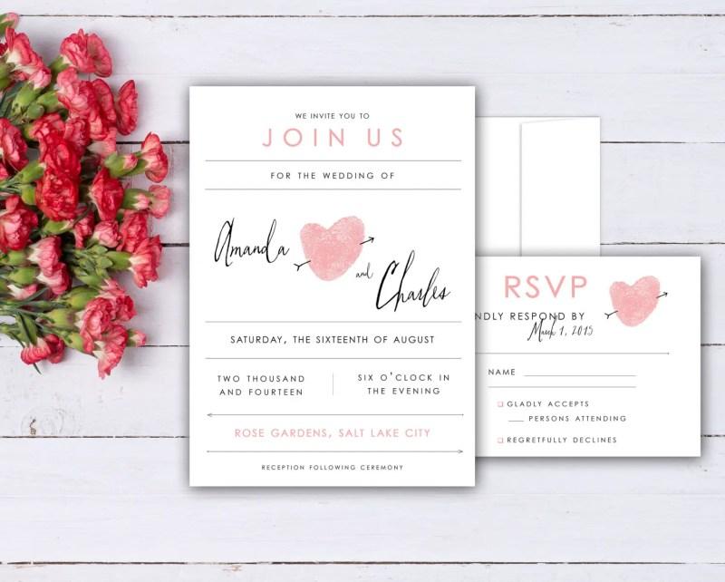 thumbprint wedding invitations
