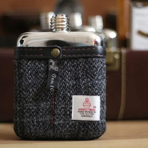 tweed pouch groomsmen flasks | http://emmalinebride.com/groomsmen/groomsmen-flasks-swig/