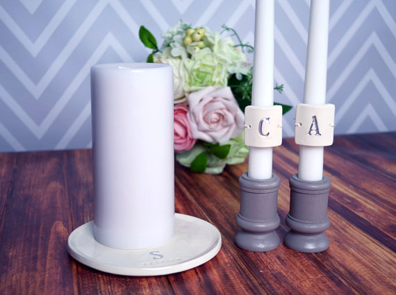 Personalized unity candle set (by Susabella) - Unity Ceremony Ideas class=