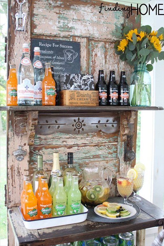 Wedding Drink Station Ideas - vintage door