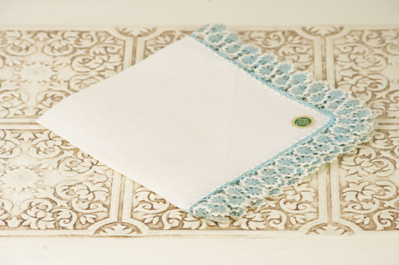 8 Ideas for Something Old, New, Borrowed, Blue (via EmmalineBride.com) - vintage handkerchief by duryea place designs