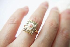 gold vintage locket ring